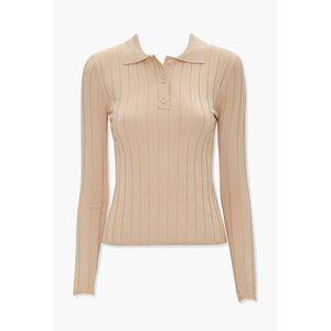 NWT Forever 21 Ribbed Beige Polo Shirt